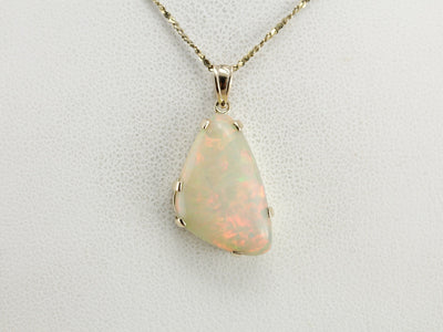 Opal Solitaire Pendant in Yellow Gold