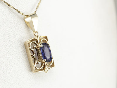 Sapphire Filigree Pendant in Yellow Gold