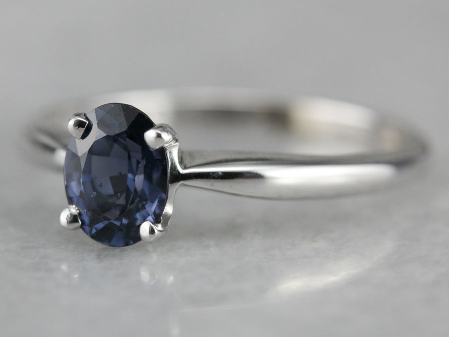 White Gold Spinel Solitaire Ring