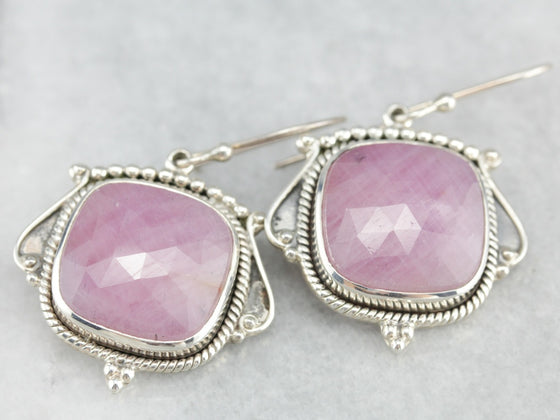 Sterling Silver Ruby Crystal Earrings