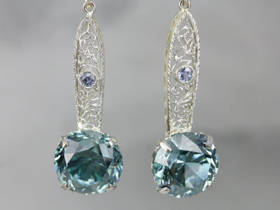 Blue Zircon and Sapphire Filigree Drop Earrings