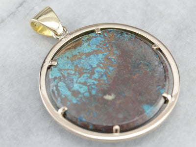 Gold Chrysocolla Statement Pendant