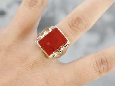 Vintage Red Jasper Men's Ring