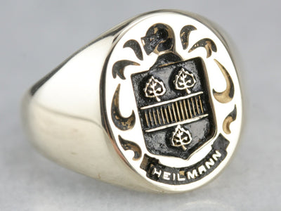 Vintage Heilmann Coat of Arms Signet Ring