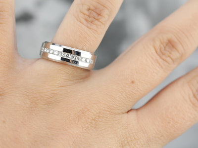 Unisex Platinum Diamond Band