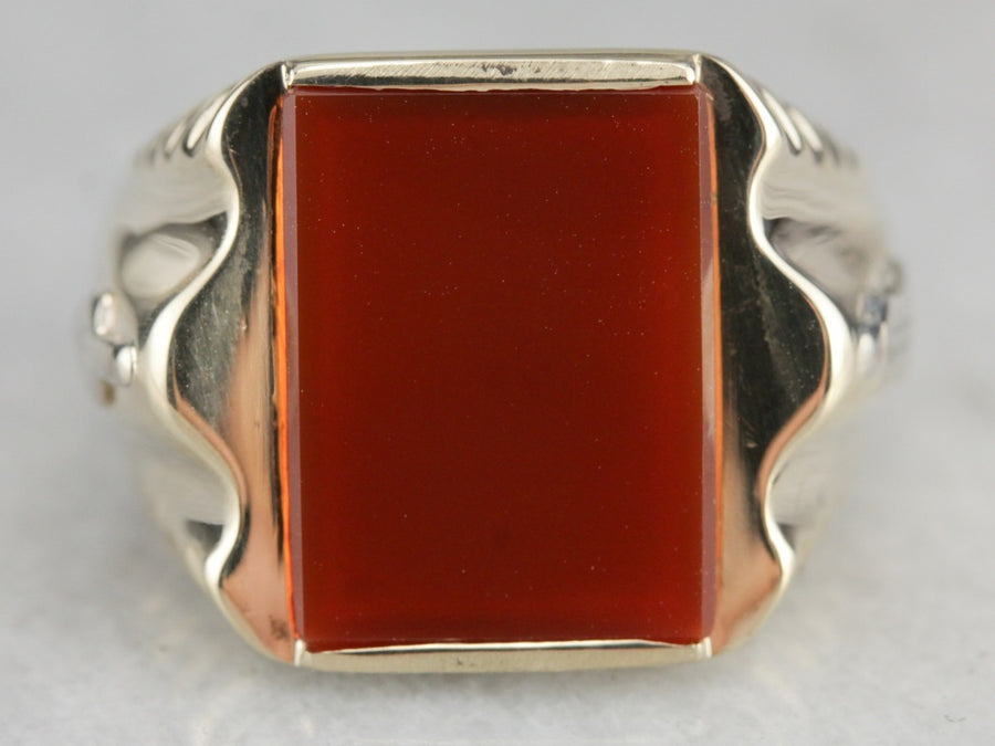 Men's Vintage Masonic Carnelian Ring