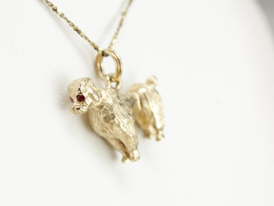Vintage Poodle Charm with Ruby Details
