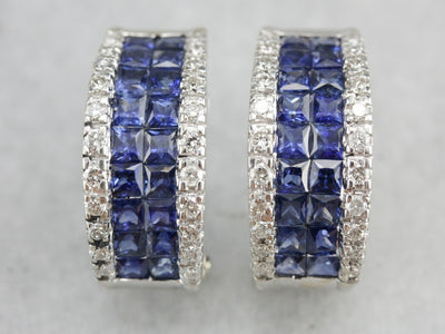 Half Hoop Sapphire and Diamond Earrings