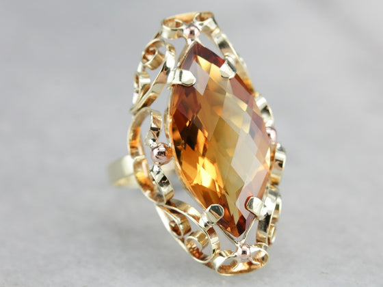 Citrine Filigree Cocktail Ring