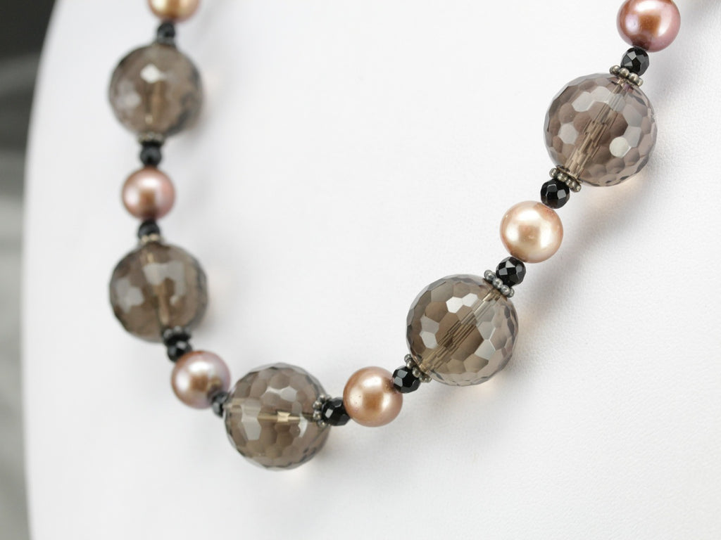 Smokey Quartz and Fresh Water Pearl Necklace