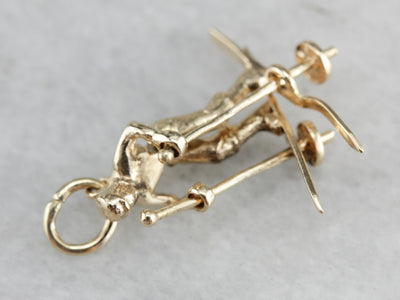 Vintage Cross Country Skier Charm