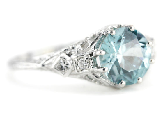 Blue Zircon and Diamond Bellamy Ring from The Elizabeth Henry Collection