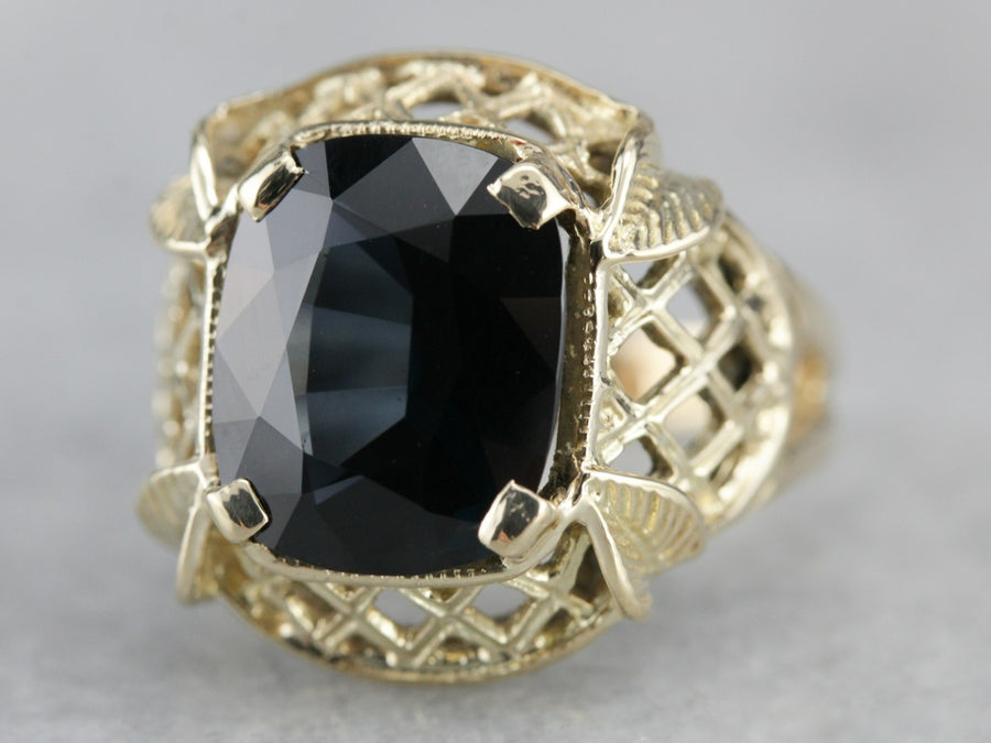 Blue Spinel Statement Ring