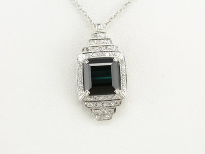 Indicolite Tourmaline and Diamond Pendant