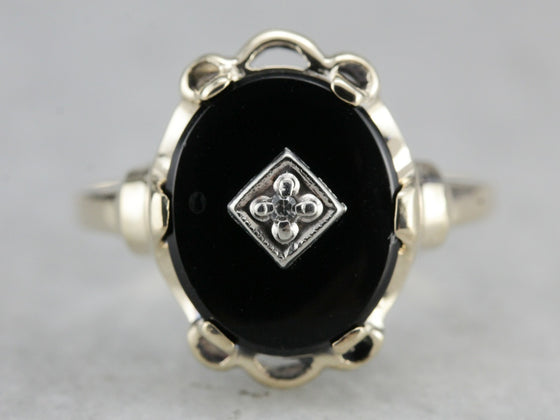 Vintage Black Onyx and Diamond Ring