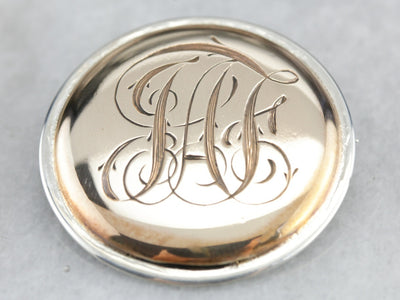 Mix Metal Monogram 'JAF' Brooch