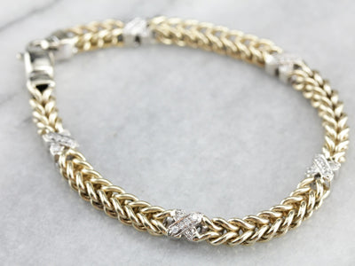 Diamond Two Tone Gold Chain Bracelet