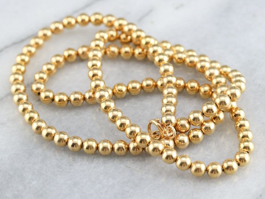 Vintage Yellow Gold Beaded Necklace