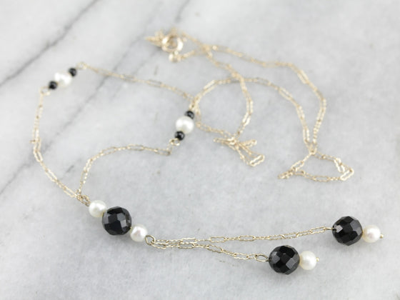 Vintage Pearl and Glass Bead Lariat Necklace
