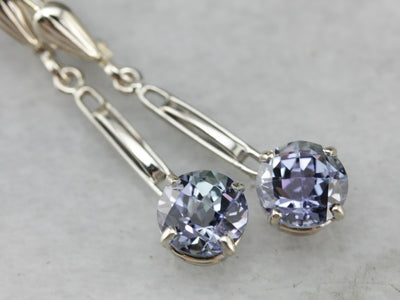 Tanzanite Drop Earrings in White Gold
