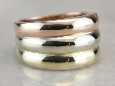 Bold Tri-Color Gold Band