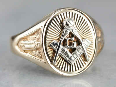 Vintage Gold Masonic Men's Ring