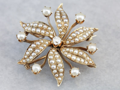 Victorian Seed Pearl and Diamond Floral Brooch Pendant