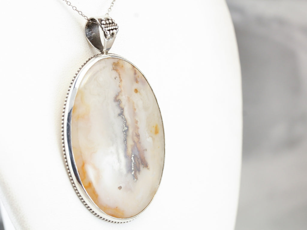 Dendritic Agate Sterling Silver Pendant