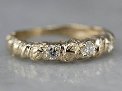 Etched Gold Diamond Band