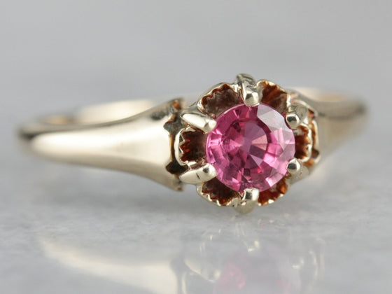 Victorian Pink Sapphire Engagement Ring