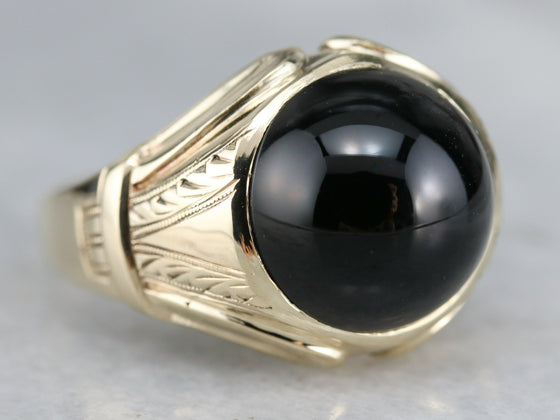 Antique Men's Black Onyx Ring