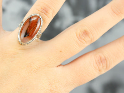 Art Deco Agate Filigree Ring