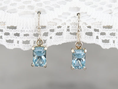 White Gold Aquamarine Drop Earrings