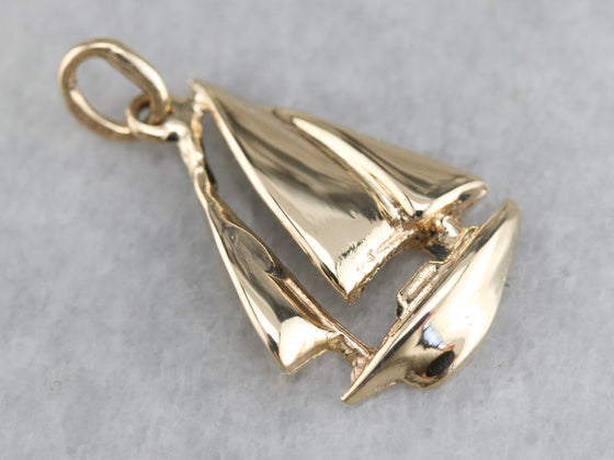Vintage Yellow Gold Sailboat Pendant