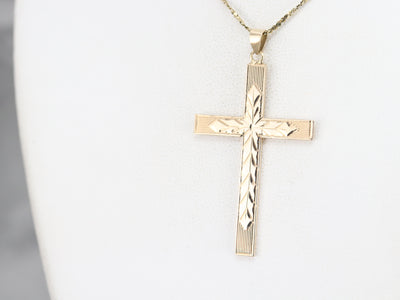 1940's Etched Gold Cross