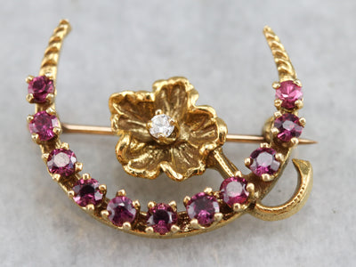 Vintage Ruby Crescent Moon Brooch