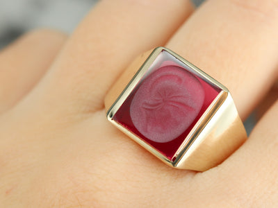Men's Vintage Ruby Glass Cameo Ring