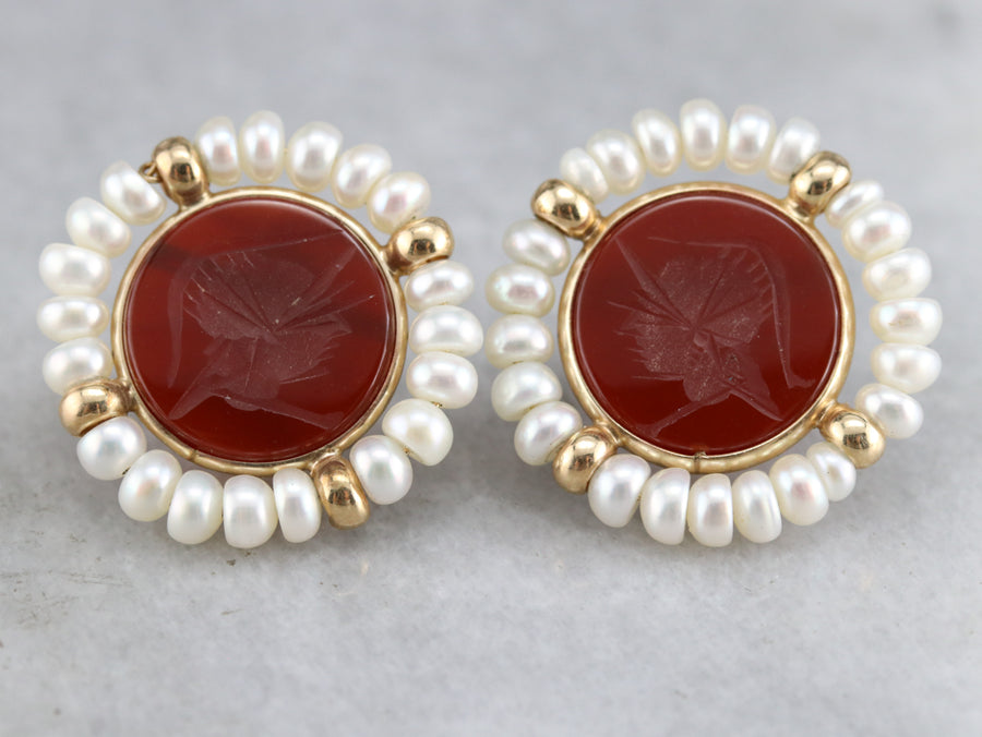 Vintage Carnelian Intaglio Earrings