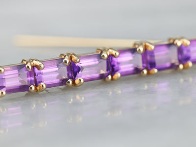 Yellow Gold Amethyst Bar Pin