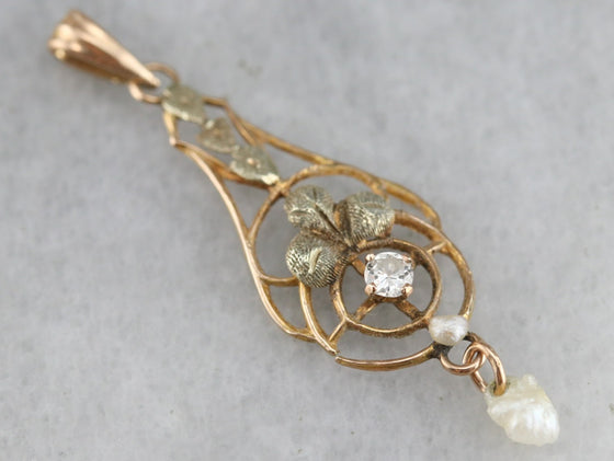 Antique Diamond and Pearl Lavalier Pendant