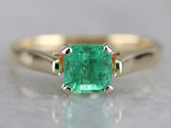 Emerald Solitaire Engagement Ring