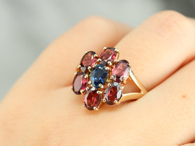 Floral Sapphire and Garnet Cocktail Ring