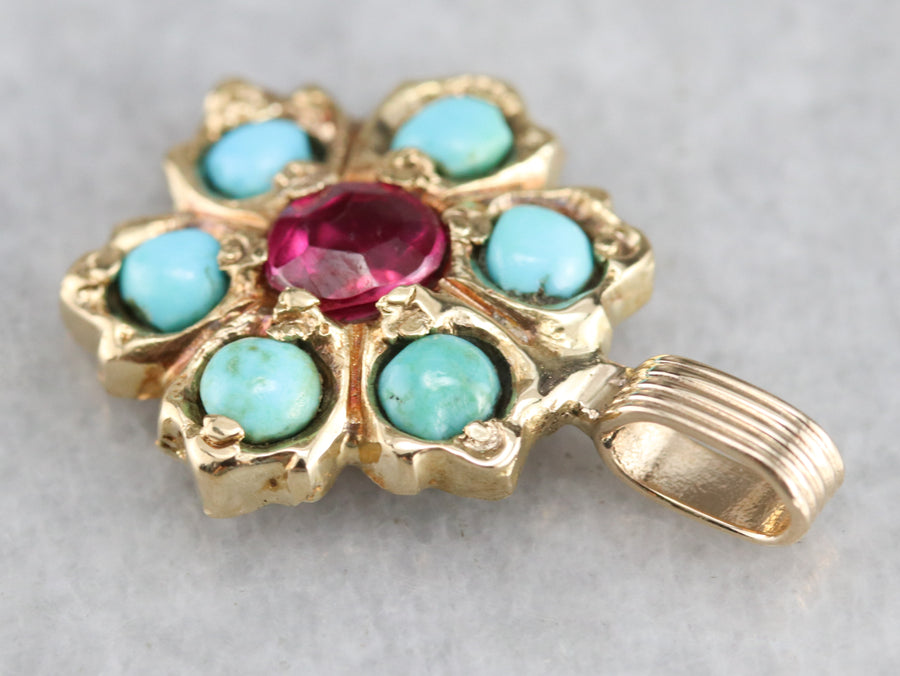 Vintage Ruby and Turquoise Pendant