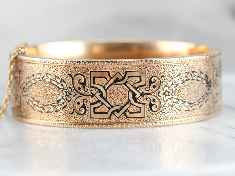 Victorian Black Enamel Bangle Bracelet