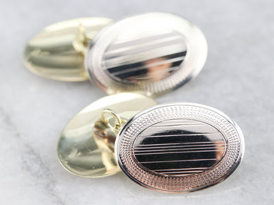 Art Deco Etched Gold Cuff Links