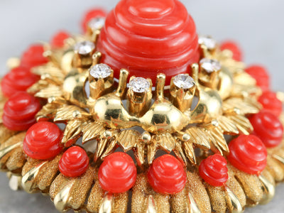 Vintage Tiffany & Co. Carved Coral and Diamond Brooch