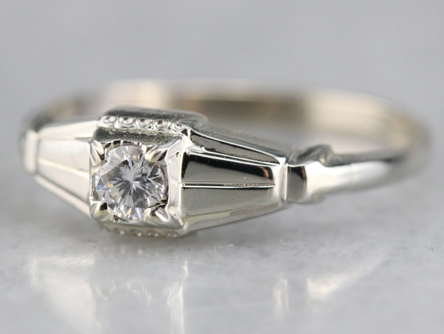 Late Art Deco Diamond Solitaire Engagement Ring