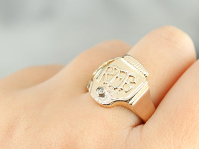 "Men's ""REB"" Diamond Gold Signet Ring"