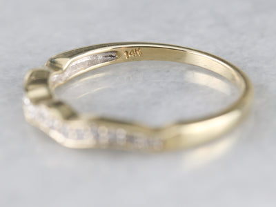 Curved Diamond Enhancer Yellow Gold Band