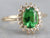 Tsavorite Garnet and Diamond Halo Ring